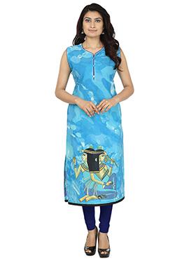 Sky Blue Cotton Printed Kurti