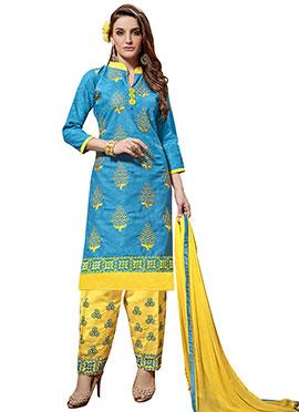 Sky Blue Cotton Salwar Suit