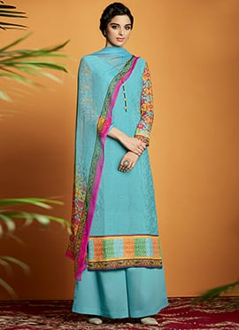 Sky Blue Cotton Satin Embroidered Palazzo Suit