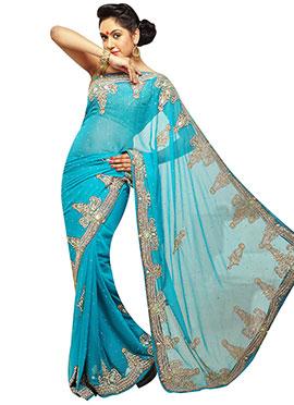 Sky Blue Embellished Saree