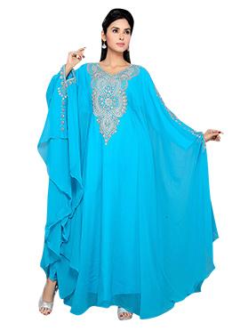 Sky Blue Georgette Embellished Kaftan