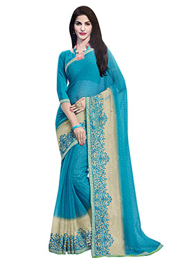 Sky Blue N Cream Chiffon Foliage Patterned Saree