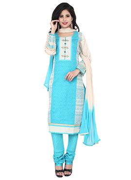 Sky Blue N Light Beige Printed Churidar Suit