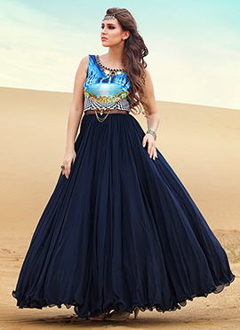 Sky Blue N Navy Blue Floor Length Anarkali Suit