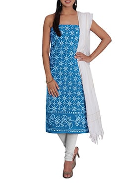 Sky Blue N Off White Cotton Printed Churidar Suit