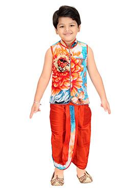 Sky Blue N Orange Blended Cotton Kids Dhoti Kurta Set