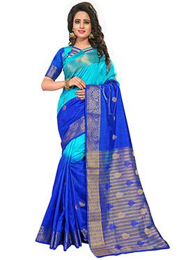 Sky Blue N Royal Blue Zari Saree