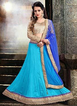 Sky Blue Tussar Silk A Line Lehenga Choli