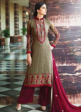 Slate Green Georgette Palazzo Suit