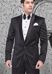 Sophisticated Black Satin Suit