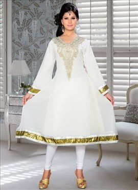 Sparkling Off White Georgette Kurti