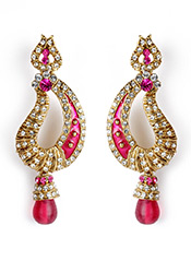 Sparkling Pink Stone Studded Earrings