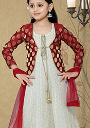 Splendid off white faux georgette anarkali suit