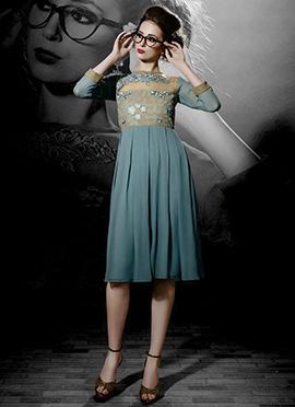 Steel Blue Embroidered Midi Dress