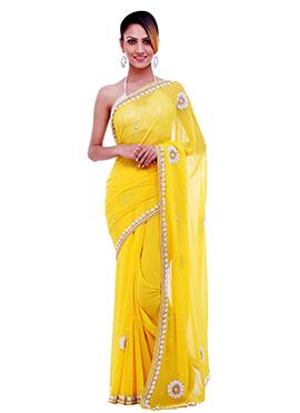 Stone Embellished Yellow Saree