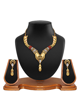 Stone Stud Golden N Red Colored Necklace Set
