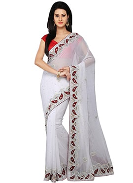 Stones Embellished White Georgette Saree