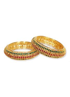 Stones Studded Traditsiya Gold Colored Bangles