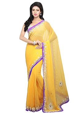 Stones Yellow Embellished Saree