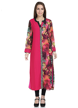 Stri Dark Pink Georgette Long Kurti