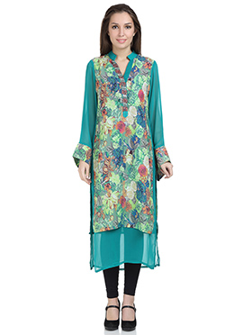 Stri Sea Green Georgette Long Kurti