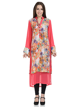 Stri Sea Peachish Pink Georgette Long Kurti