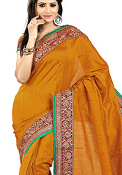 Striking Yellow Bhagalpuri Silk Saree