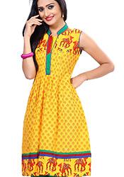 Striking yellow cotton kurti