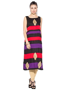 Striped Multicolored Viscose Long Kurti