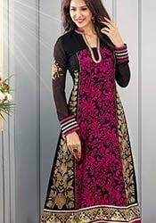 Stunning Black N Pink Brasso Kalidar Suit