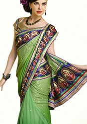 Stunning Green Georgette N Net Saree