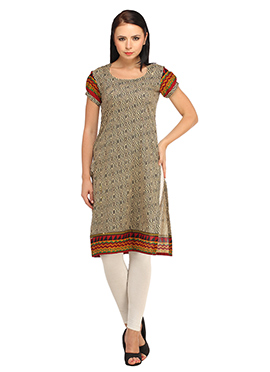 Suhi Beige N Black Printed Cotton Short Kurti
