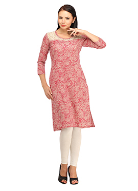 Suhi Red Cotton Geometric Print Kurti