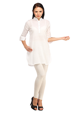 Suhi White Cotton Kurti