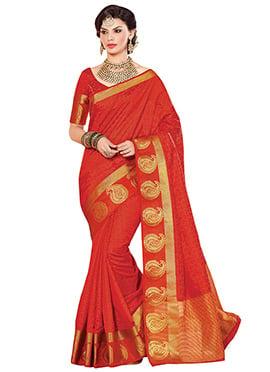 Tangerine Red Tussar Silk Saree