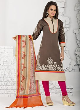 Taupe Brown Chanderi Churidar Suit