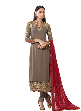 Taupe Embroidered Straight Suit