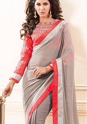 Taupe Shimmer Georgette Saree