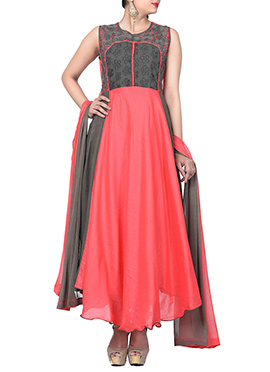 Taupe Grey N Coral Peach Ankle Length Anarkali
