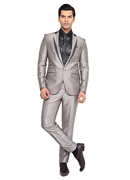 Taupe Grey Viscose Lapel Style Suit