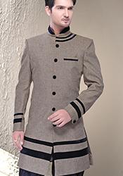 Taupe Linen Jute Breeches Style Sherwani