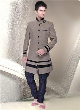 Taupe Grey Linen Jute Breeches Style Sherwani