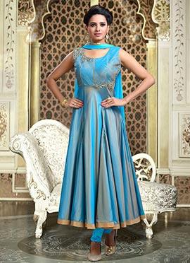 Teal blue Art Silk Anarkali Suit