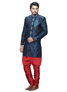 Teal Blue Breeches Style Sherwani