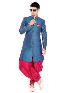 Teal Blue Indowestern Sherwani