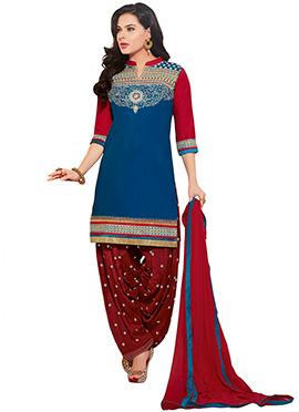 Teal Blue Resham Patiala Suit