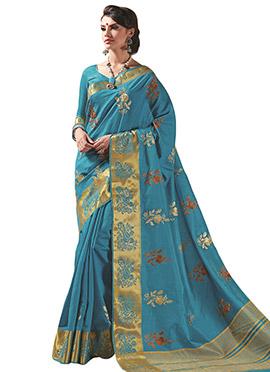 Teal Blue Tussar Silk Saree