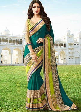 Teal Embroidered  Saree