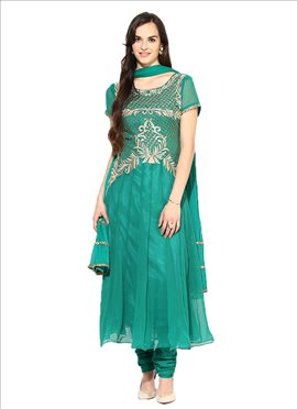 Teal Green Georgette Anarkali Suit