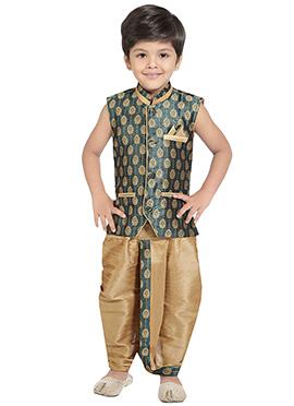 Teal Green Kids Dhoti Kurta Set